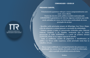 Comunicado MRAA sobre funcionamento com COVID-19